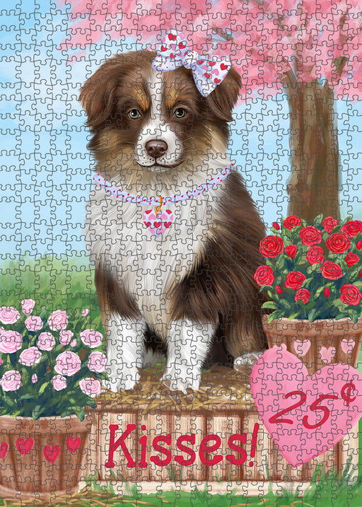 Rosie 25 Cent Kisses Australian Shepherd Dog Puzzle with Photo Tin PUZL91256