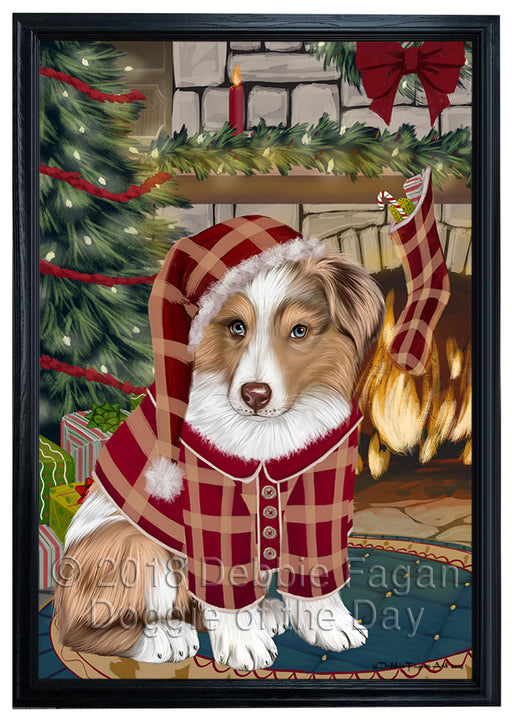 The Stocking was Hung Australian Shepherd Dog Framed Canvas Print Wall Art FCVS175143