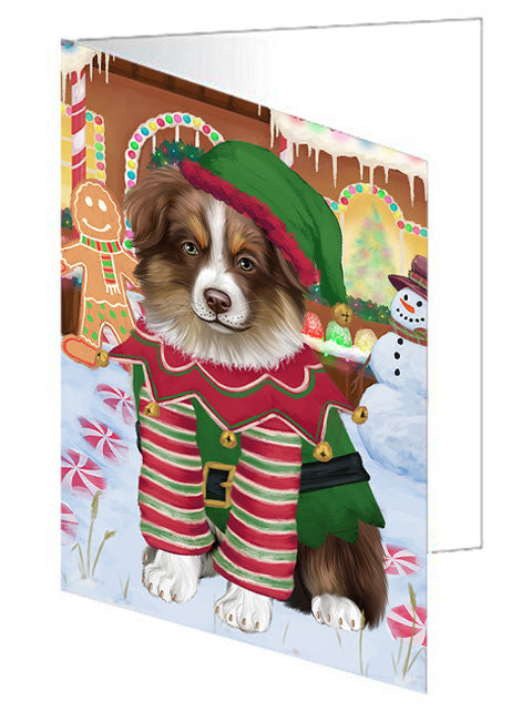 Christmas Gingerbread House Candyfest Australian Shepherd Dog Note Card NCD72983