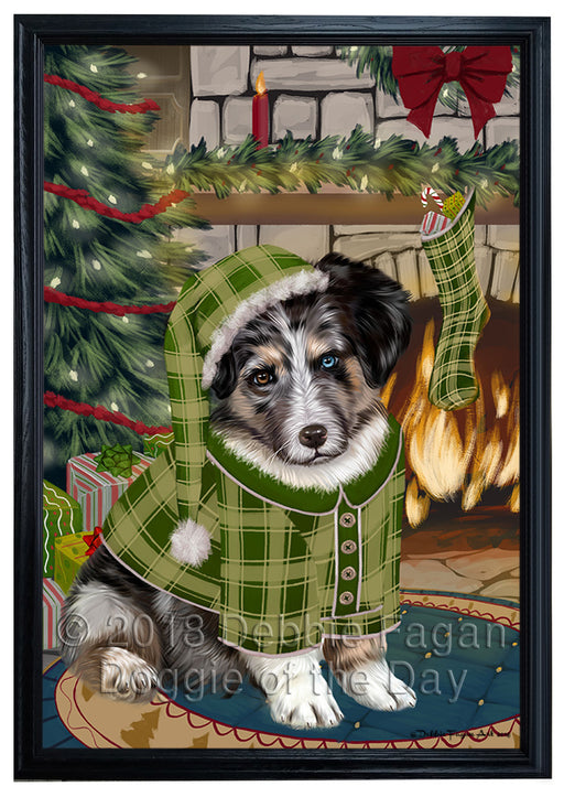 The Stocking was Hung Australian Shepherd Dog Framed Canvas Print Wall Art FCVS175160