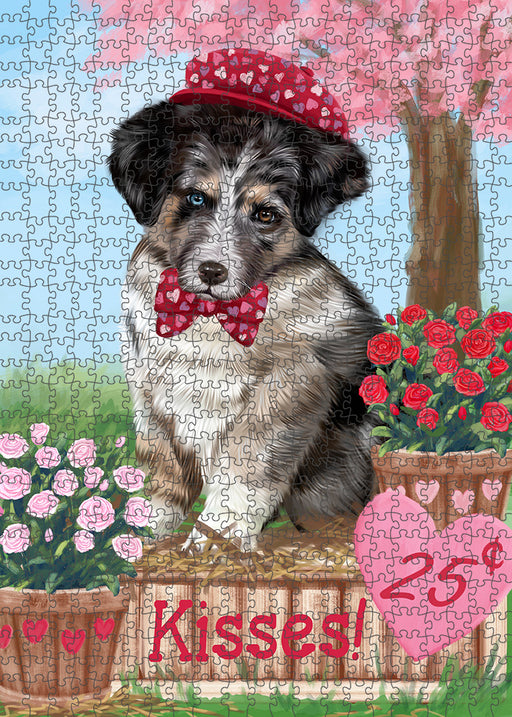 Rosie 25 Cent Kisses Australian Shepherd Dog Puzzle with Photo Tin PUZL91260