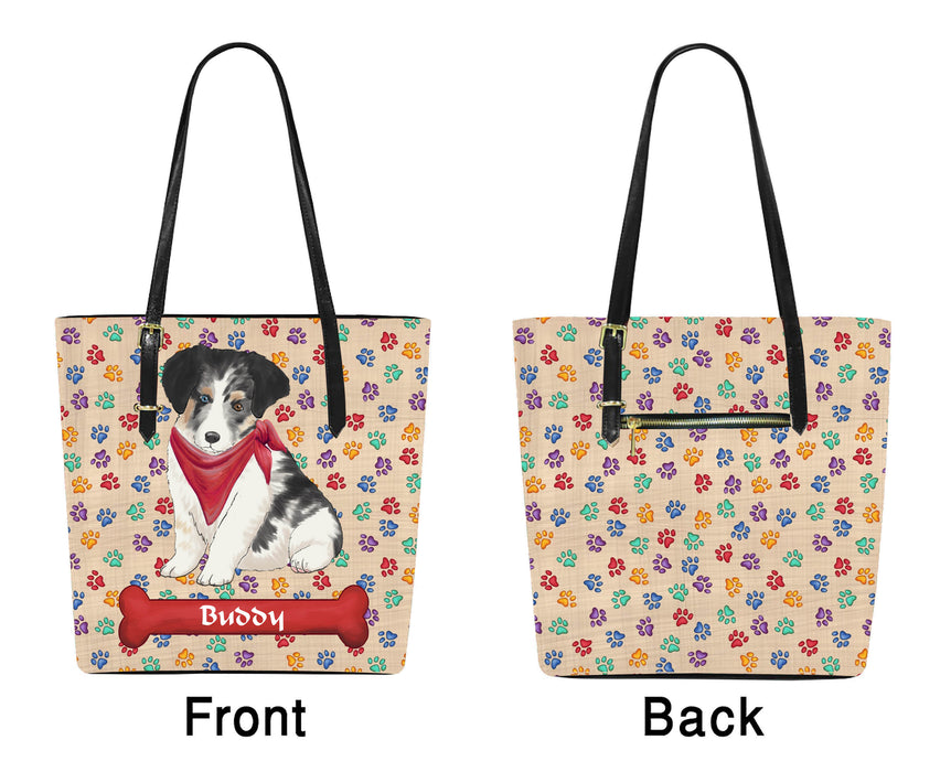 Custom Personalized Red Paw Print Australian Shepherd Dog Euramerican Tote Bag