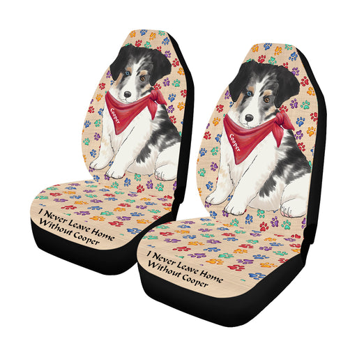 Personalized I Never Leave Home Paw Print Australian Shepherd Dogs Pet Front Car Seat Cover (Set of 2)