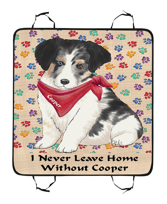 Personalized I Never Leave Home Paw Print Australian Shepherd Dogs Pet Back Car Seat Cover