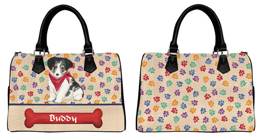 Custom PersonalizedRed Paw Print Australian Shepherd Dog Euramerican Tote Bag Australian Shepherd Dog Boston Handbag