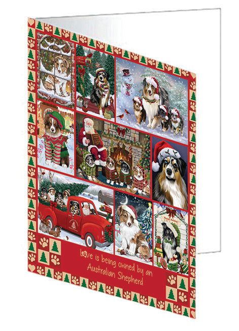 Love is Being Owned Christmas Australian Shepherd Dogs Greeting Card GCD78809