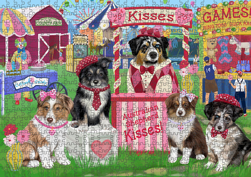 Carnival Kissing Booth Australian Shepherds Dog Puzzle with Photo Tin PUZL91312