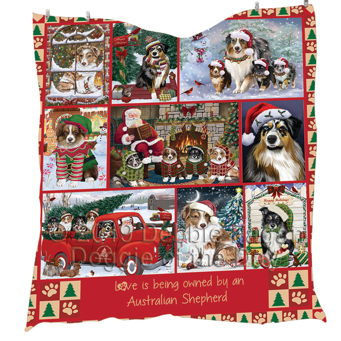 Love is Being Owned Christmas Australian Shepherd Dogs Quilt