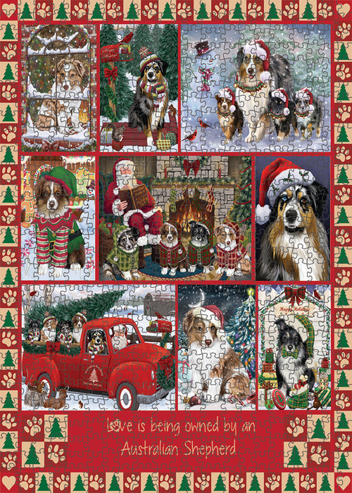 Love is Being Owned Christmas Australian Shepherd Dogs Puzzle with Photo Tin PUZL99252
