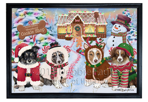 Holiday Gingerbread Cookie Shop Australian Shepherds Dog Framed Canvas Print Wall Art FCVS190732