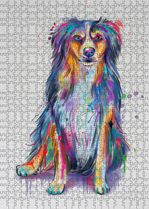 Watercolor Australian Shepherd Dog Puzzle with Photo Tin PUZL97088