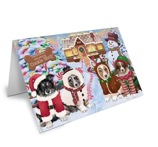 Holiday Gingerbread Cookie Shop Australian Shepherds Dog Note Card NCD72812