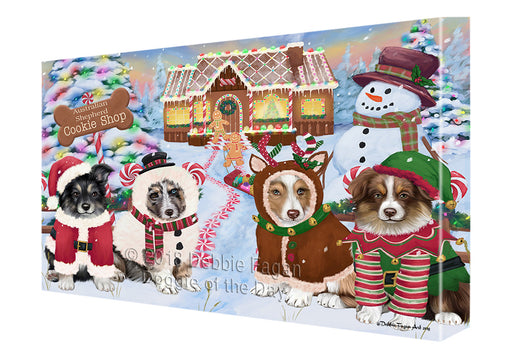 Holiday Gingerbread Cookie Shop Australian Shepherds Dog Canvas Print Wall Art Décor CVS127115