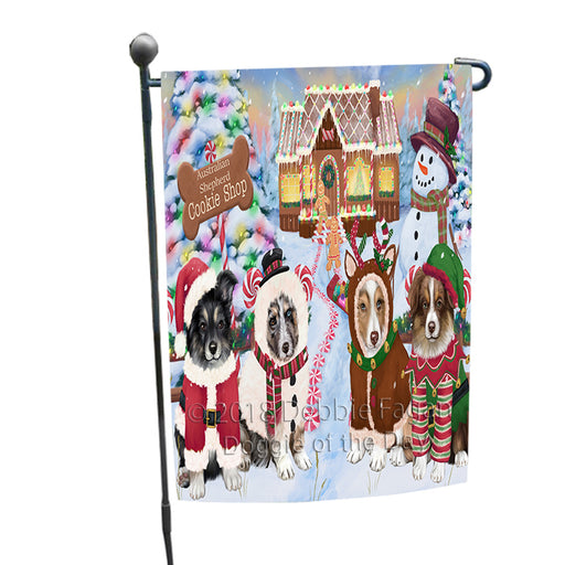 Holiday Gingerbread Cookie Shop Australian Shepherds Dog Garden Flag GFLG56647