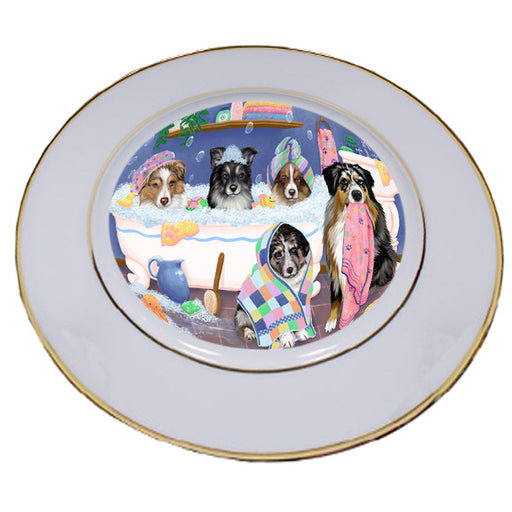 Rub A Dub Dogs In A Tub Australian Shepherds Dog Porcelain Plate PLT55106