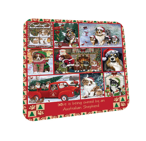 Love is Being Owned Christmas Australian Shepherd Dogs Coasters Set of 4 CST57152