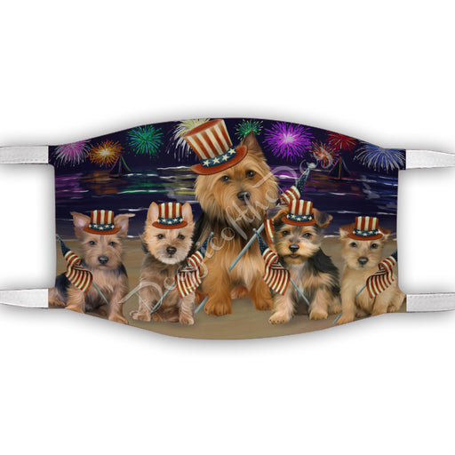 4th of July Independence Day Australian Terrier Dogs Face Mask FM49372