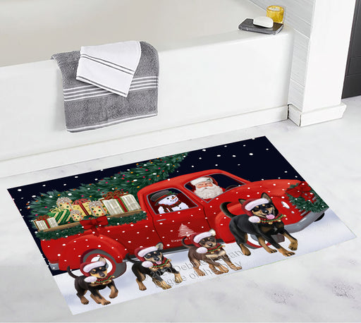 Christmas Express Delivery Red Truck Running Australian Kelpies Dogs Bath Mat BRUG53419