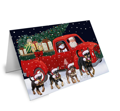 Christmas Express Delivery Red Truck Running Australian Kelpies Dogs Greeting Card GCD75050