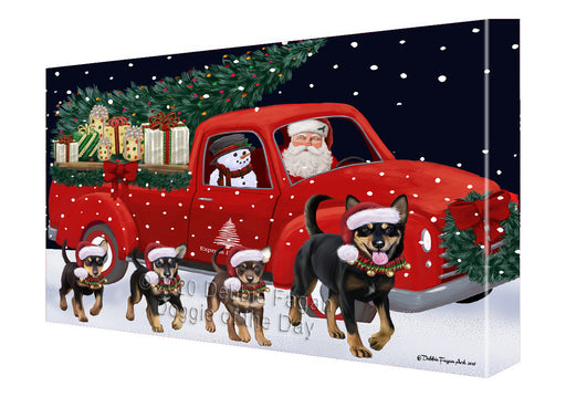 Christmas Express Delivery Red Truck Running Australian Kelpies Dogs Canvas Print Wall Art Décor CVS145826