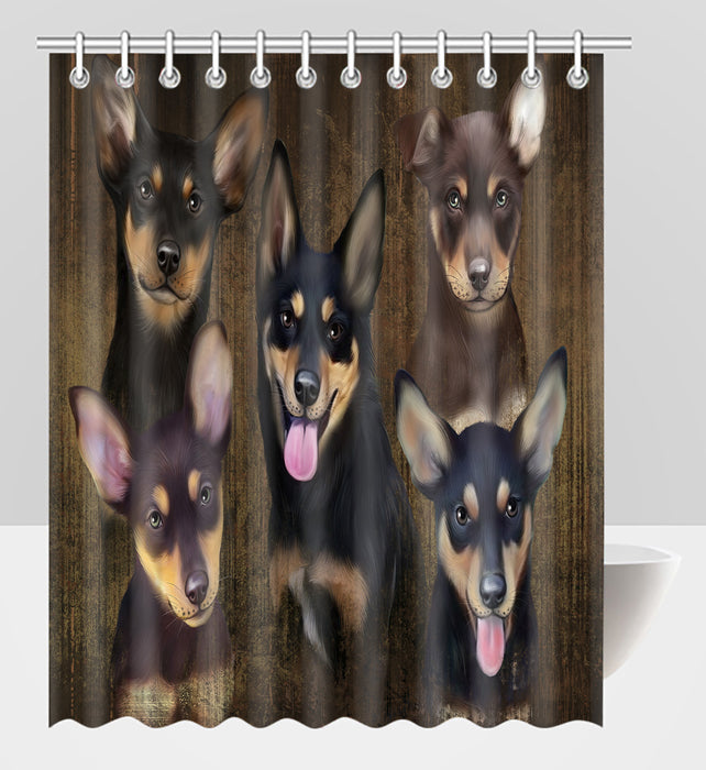 Rustic Australian Kelpie Dogs Shower Curtain