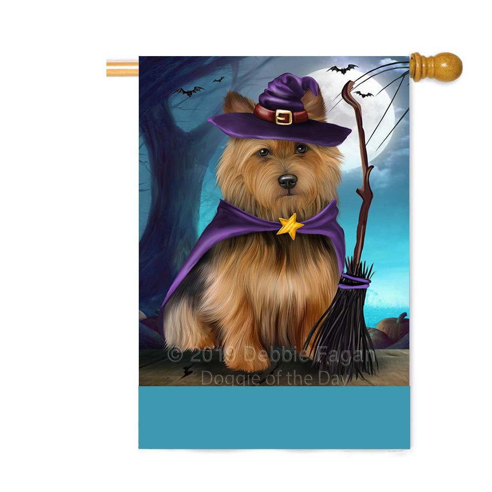 Personalized Happy Halloween Trick or Treat Australian Terrier Dog Witch Custom House Flag FLG64252