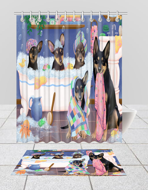 Rub A Dub Dogs In A Tub Australian Kelpies Dogs Bath Mat and Shower Curtain Combo