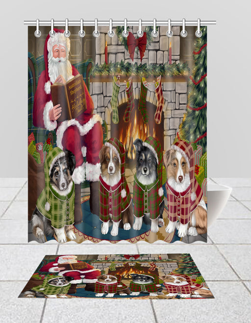Christmas Cozy Holiday Fire Tails Australian Shepherd Dogs Bath Mat and Shower Curtain Combo