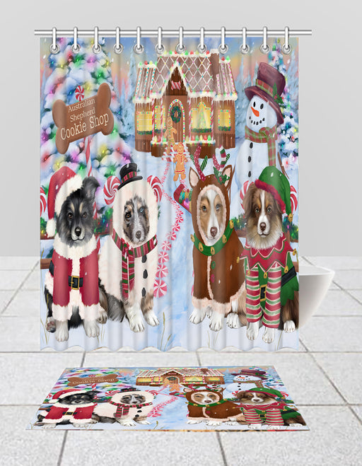 Holiday Gingerbread Cookie Australian Shepherd Dogs  Bath Mat and Shower Curtain Combo