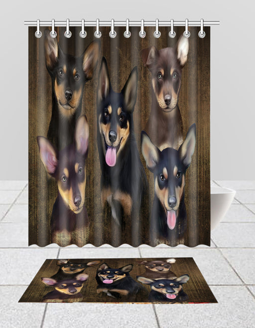 Rustic Australian Kelpie Dogs  Bath Mat and Shower Curtain Combo