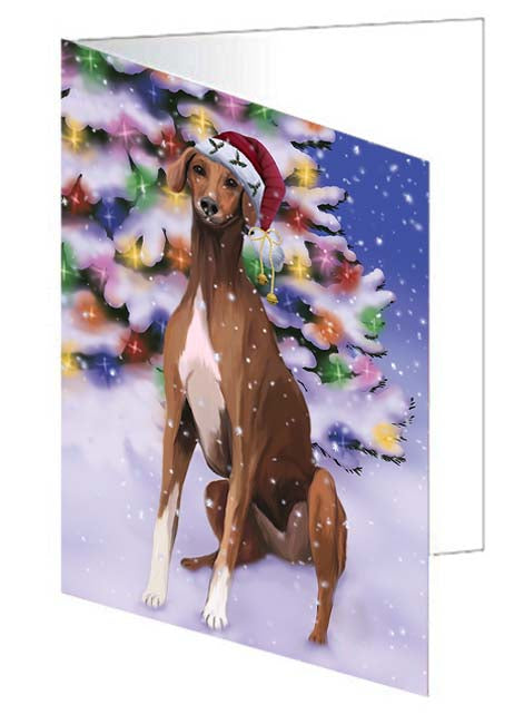 Winterland Wonderland Azawakh Dog In Christmas Holiday Scenic Background Note Card NCD71558