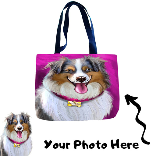 Add Your PERSONALIZED PET Painting Portrait Photo on Beach Bag Pocket Tote
