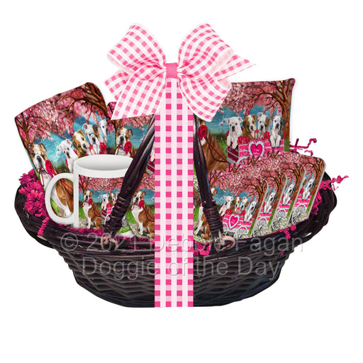 Mother's Day Gift Basket Bulldogs Blanket, Pillow, Coasters, Magnet, Coffee Mug and Ornament