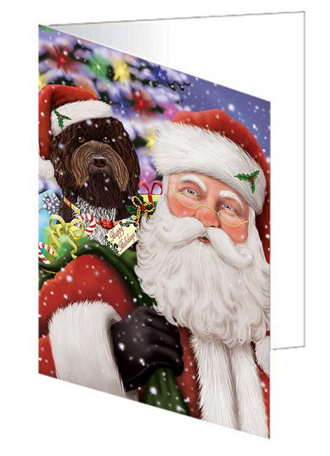 Santa Carrying Barbet Dog and Christmas Presents Note Card NCD70964