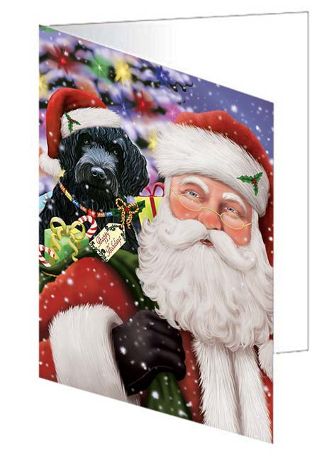 Santa Carrying Barbet Dog and Christmas Presents Note Card NCD70967