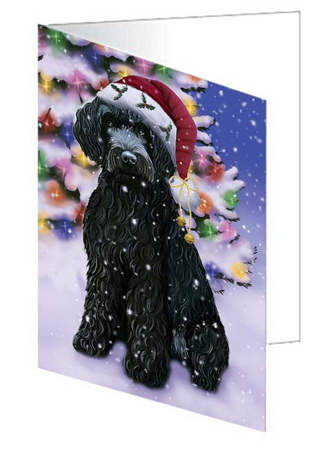 Winterland Wonderland Barbet Dog In Christmas Holiday Scenic Background Note Card NCD71561