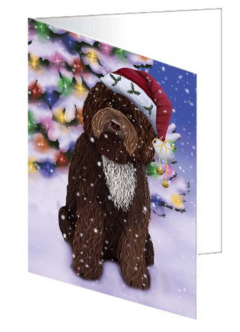 Winterland Wonderland Barbet Dog In Christmas Holiday Scenic Background Note Card NCD71564