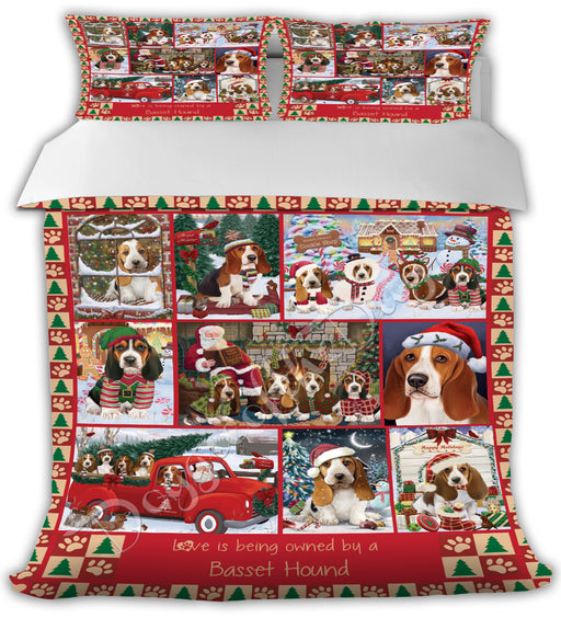 Love is Being Owned Christmas Basset Hound Dogs Bed Comforter CMFTR48756