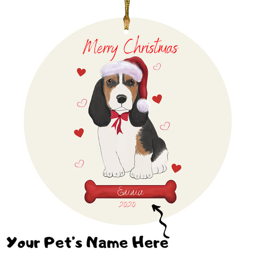 Personalized Merry Christmas  Basset Hound Dog Christmas Tree Round Flat Ornament RBPOR58908