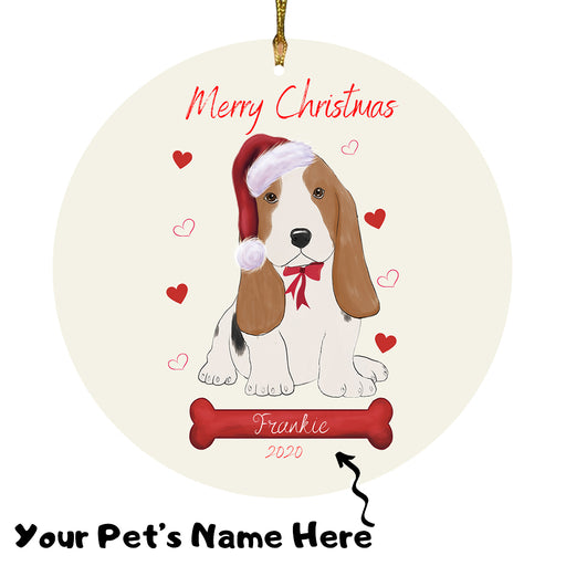 Personalized Merry Christmas  Basset Hound Dog Christmas Tree Round Flat Ornament RBPOR58909
