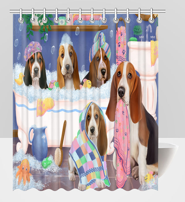 Rub A Dub Dogs In A Tub Basset Hound Dogs Shower Curtain