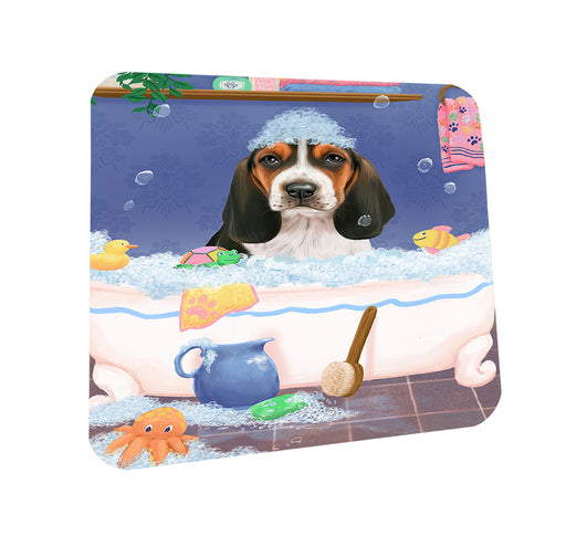 Rub A Dub Dog In A Tub Basset Hound Dog Coasters Set of 4 CST57259