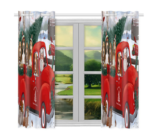 Christmas Santa Express Delivery Red Truck Basset Hound Dogs Window Curtain