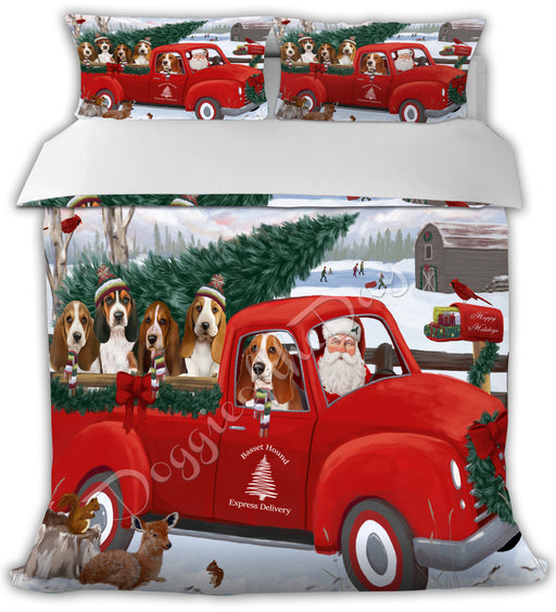 Christmas Santa Express Delivery Red Truck Basset Hound Dogs Bed Comforter CMFTR48091