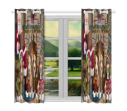 Christmas Cozy Holiday Fire Tails Basset Hound Dogs Window Curtain