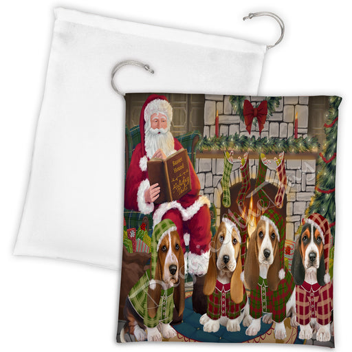 Christmas Cozy Holiday Fire Tails Basset Hound Dogs Drawstring Laundry or Gift Bag LGB48469