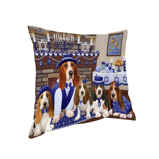 Happy Hanukkah Family and Happy Hanukkah Both Basset Hound Dogs Pillow PIL82756