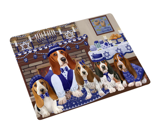 "Happy Hanukkah Family and Happy Hanukkah Both Basset Hound Dogs Magnet MAG77566 (Small 5.5"" x 4.25"")"