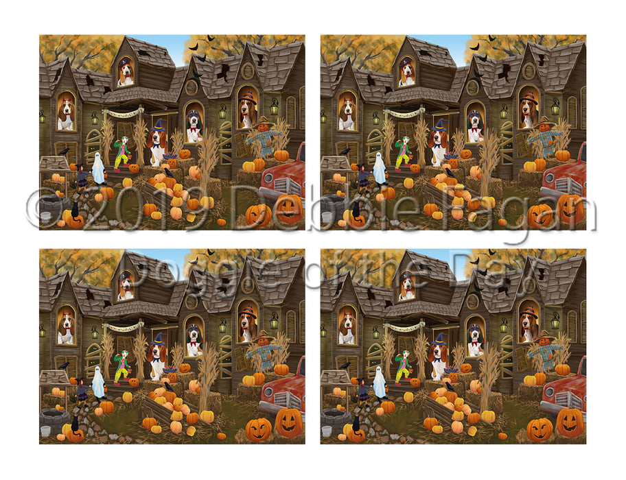 Haunted House Halloween Trick or Treat Basset Hound Dogs Placemat