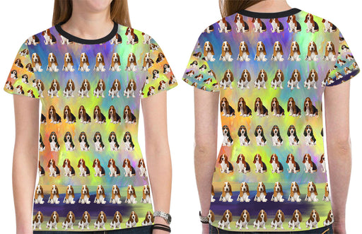 Paradise Wave Basset Hound Dogs All Over Print Mesh Women's T-shirt